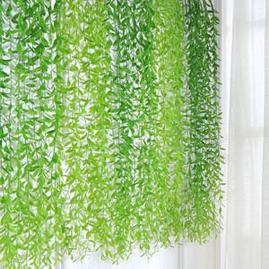 Las plantas artificiales 10pcs Planta tropicales hojas de sauce de hojas de vid Hangging para el bricolaje Weding Decoración jardín Decoración del hogar Accesorios de plástico