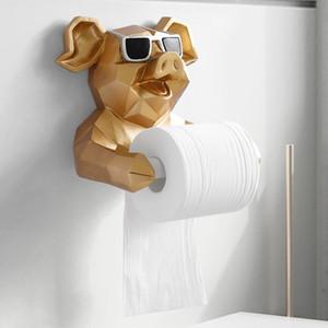 Cabeza de animal Estatua Estatuilla Colgando sostenedor del tejido de papel higiénico Aseo hogar de la pared de la decoración del rollo de papel cuadro titular de montaje en pared