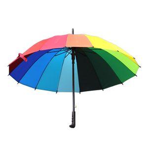 Rainbow Umbrella Women 16K Rainproof Windproof Long Handle Umbrellas Strong Frame Waterproof Large Colorful Rainbow Umbrella DH1371 T03