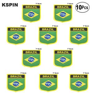 Brasil Flag Remendos ferro em Serra sobre Transferência de patches de Aplicações de costura de roupas em HomeGarden 10pcs