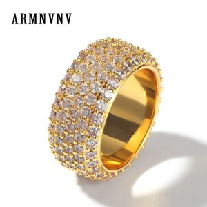 الجملة خمسة صف سوليتير الرجال خاتم النحاس سحر الذهب والفضة اللون مكعب الزركون مثلج RING موضة الهيب هوب مجوهرات