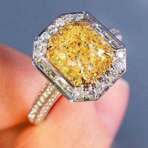 Victoria Wieck Luxuxschmucksachen 925 Sterlingsilber-Prinzessin Cut Gelb Topaz CZ-Diamant-Edelstein-Partei Eternity Frauen Hochzeit Brautring