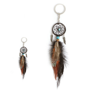 Mini Dream Catcher Keychain Creative Car Accessories Hanging Handmade Vintage Feather Decoration Ornament Birthday Present Party Gift