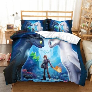 Dropshipping Musolei How To Train Your Dragon 3D Bedding Set Queen Size Duvet Cover set comforter cover set bedclothes Home room Textiles