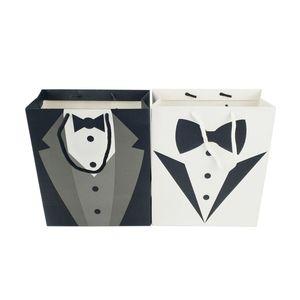 Padrinos de boda del favor del regalo de boda del smoking bolsas de mano Negro Blanco Novio Papel Tuxedo fiesta de cumpleaños de la boda bolsa de Bolsas
