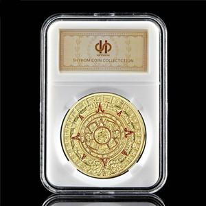 Gedenkmünze Maya-Kalender Aztec Mexiko 1 Unze Gold überzogenes Souvenir Münze Sammler W / PCCB Box