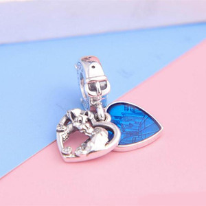 Fit Pandora Ale Bracelet Charm S925 Sterling Silver Lady and the Tramp Heart Dangle Charms Bead European Charms DIY Style Jewelry logo stamp