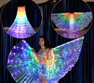 Cor das crianças LEVOU luz Asas Dança Dança Do Ventre Show de Desempenho Fluorescente Borboleta Capa de Luz de Dança Adereços de Férias Clube Mostrar desgaste Y48
