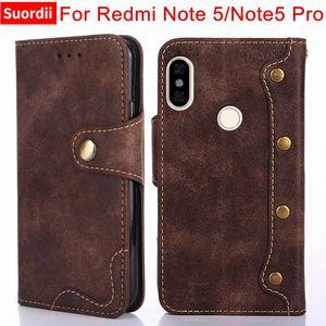 Für xiaomi redmi note 5 case luxus niet flip wallet ledertaschen für redmi note 5 pro cover stand kartenhalter funktion