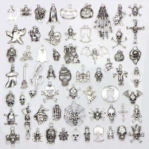 60 Verschiedene Designs Halloween Charms Schädel-Skelett-Hand Spinnen-Schläger-Geist-Hexe-Anhänger Diy Schmucksachen, die 60pcs / bag