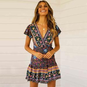 Nuevos vestidos de verano para mujer de manga corta playa bohemia vestido plisado con cuello en v péndulo flor vestido casual mujer ropa S-XL