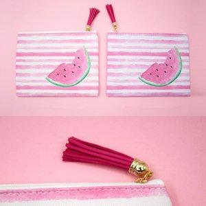Borlas listradas Flamingo Bikini Bag Mini Coin Bolsas Caneta de impressão digital Caso Sacos de armazenamento de viagem Cor Mix 5wf E1