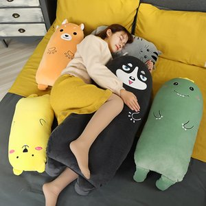 Huggable New Dinosaur Husky Cat pillow plush toys cute Shiba Inu doll girls bed holding a sleeping doll long pillow cushion doll