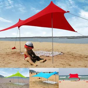 Refugio de pesca plegable portátil tienda de campaña cubierta de alta estiramiento Beach Sun Shade al aire libre Familia de camping con Sandbag hierro Polos
