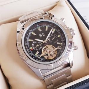 Montres de luxe Marque Tourbillon mécanique Montre Homme Horloge en acier inoxydable Perpétuel Grand cadran cool affaires Sport Montre