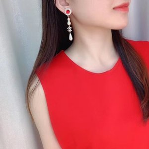 2020 Hot sale top quality drop earring with red stone and pearl for women wedding jewelry gift free shipping PS4279
