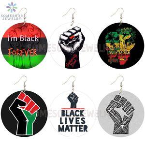 SOMESOOR Negro siempre puño del poder Colecciones africana Pendientes de Madera gota AFRO RASTA Dichos diseños de joyas para mujeres Los regalos