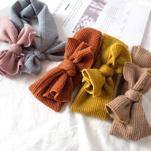Baby Nylon Headbands Winter Warm Ear Soft Headwrap Xmas Girl Elastic Crochet Headband Knitted Bow Hairband Hair Band Accessories