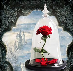 2019 Рождественский подарок Красавица и Чудовище розы в стеклянной купольной День святого Валентина Подарок Искусственные цветы украшение