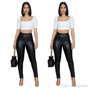 Тощий женские кожаные штаны сплошной цвет Женская мода Стиль Дизайнер Брюки женские повседневные брюки Новые поступления