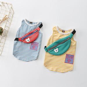 Mode 2 Farben Haustier-Kleidung 2020 Streifen Baumwolle Dog-T-Shirts Elastic Pet Westen Teddy Hunde-Bekleidung