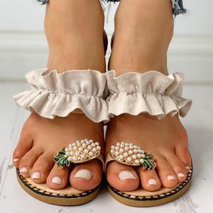 Women Flats Slippers Summer Casual Flip Flops Flowers Pearl Woman Flat Shoes 35-43 plus size Comfortable Female Beach Sandals