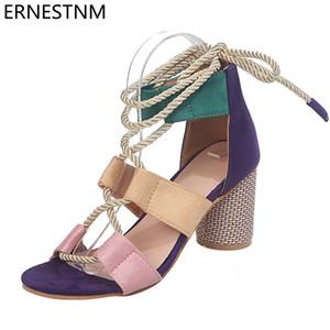 ERNESTNM Women Sandals 2020 New Summer Espadrilles High Heel Open Toe Sandals High Heel Gladiator Women Plus Size