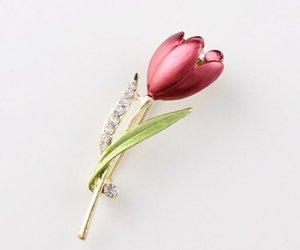 Elegante Tulpe Blume Brosche Kristall Kostüm Schmuck Kleidung Zubehör Schmuck Broschen Für Hochzeit GA760