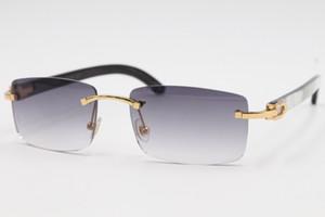 الجملة الساخن 8200757 نمط نظارات حقيقية الطبيعية أبيض وأسود العمودي المشارب قرن الجاموس بدون إطار نظارات الإطار الحجم: 56-18-140mm