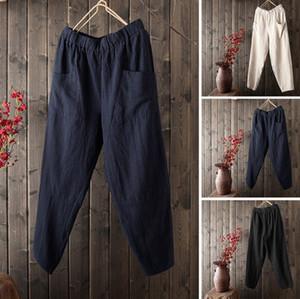 Ropa de otoño Nuevas Mujeres de Algodón y Color Puro de Cintura Alta Pantalones de Pierna Ancha Pantalones de Lino de Algodón Pantalones Sueltos