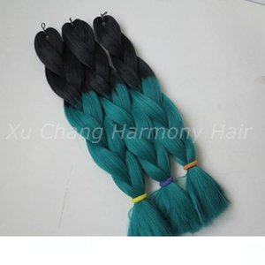 L Kanekalon Jumbo Box Braiding Synthetic Hair 20 Inch 100g Black &Emerald Green Ombre Two Tone Xpression Hair Extension