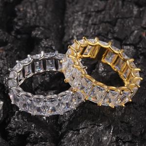 Новый дизайн Ice Out HipHop Куб CZ Кольца Высокое качество ювелирных изделий Gold Щепка Micro Асфальтовая кольцо для мужчин и женщин подарок