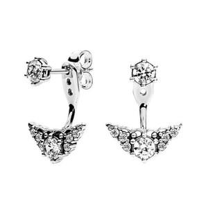 Luxus Frauen Fee Ohrringe Ohrstecker Solide 925 Sterling Silber Krone Prinzessin Delicate Stud Earings Designer Schmuck Mädchen Großhandel