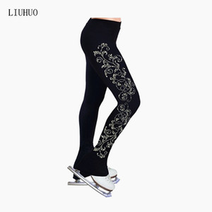 LIU HUO Ice skating long pants Figure Skating Trousers Girls adult figure skating training pants Exquisite patterns Stretch fabrics Kids