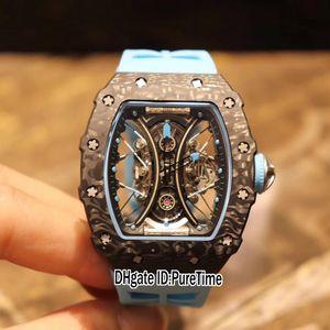RM53-01 Pablo Mac Don Miyota automático Tourbillon del reloj para hombre Negro Súper luminoso de fibra de carbono Caso Esqueleto Dial caucho azul Puretime E71a1