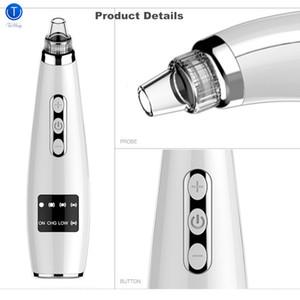 TinWong removedor de la espinilla de vacío, Extractor Tool eléctrico limpiador facial del poro Comedón succión, 5 reemplazable succión Heads T191029