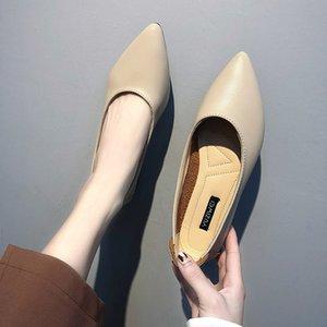 Pisos Ladies Mujeres Primavera Zapatos Zapatos Slip Otoño Cuero Doe Zapatos Ballet Pisos en Mujer PU PU Single N7133G Ganbu