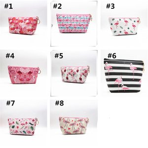 Flamingo Cartoon Cosmetic Bag Women Bag Makeup Bag Dumpling Large Capacity Travel Portable Storage Toiletry Bags Zip Pouch D22903