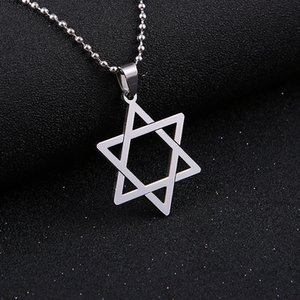 Simsimi Stainless Steel Silver Star Of David Pendants & Necklaces Hexagram Six-Pointed Star Charm Necklace For Women Men Choker