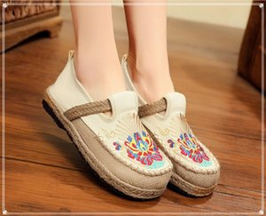 Wholesale 2020 new ethnic style embroidered shoes, round-headed lazy shoes, Girl student leisure shoes size 35-40