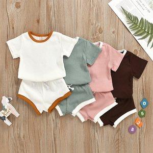 Nuovo colore solido Pit girocollo in cotone capretti del bambino dei vestiti del ragazzo Girl T-shirt a maniche corte top e pantaloni 2pcs / set 9 colori 6pcs