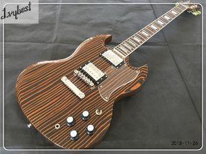 Sıcak ! özelleştirilmiş elektro gitar zebra ahşap tahıl, doğal renk bitmiş krom parçaları, şeffaf pickguard, HH manyetikler!