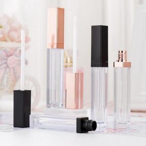 5ML Lip Gloss Containers vide carré Lip Gloss Tube Maquillage pour les lèvres à l'huile Récipient en plastique noir Tubes en or rose
