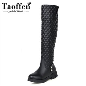 TAOFFNE Women Flat Over Knee Boots Ladies Riding Fashion Long Snow Boot Warm Winter Botas Female Footwear Shoes Size 34-40