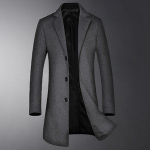 Wolle Graben Luxus Solid Color Einreiher Herren-Jacken Herbst-Winter-Business und Casual Man Coats