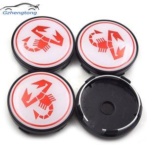 Gzhengtong 4pcs / lot 60mm 3D weißer Hintergrund Red Scorption Abdeckung Radnabenabdeckungen für Fiat Abarth 500 500C