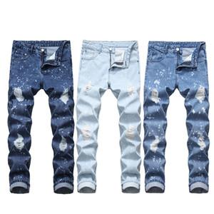 jeans pour hommes Jeans Moyen Hommes New Denim Jeans trou droit pour hommes Slim Pantalons gros