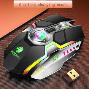 Gaming Mouse sans fil rechargeable de jeu Silent Mouse ergonomique 7 Clés RVB rétroéclairé 1600 DPI souris pour ordinateur portable