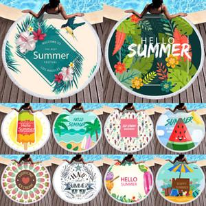Nouveau mode d'été Bohemian ronde Cartoon Floral Tassel Serviette de plage tapisserie Hippie Throw Serviette de couverture indienne