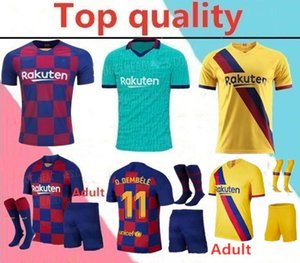 2019 2020 Barcelona MESSI adult soccer jerseys 19 20 GRIEZMANN F.DE JONG Maillot de foot sets with socks Barcelona Messi soccer jerseys full kits
